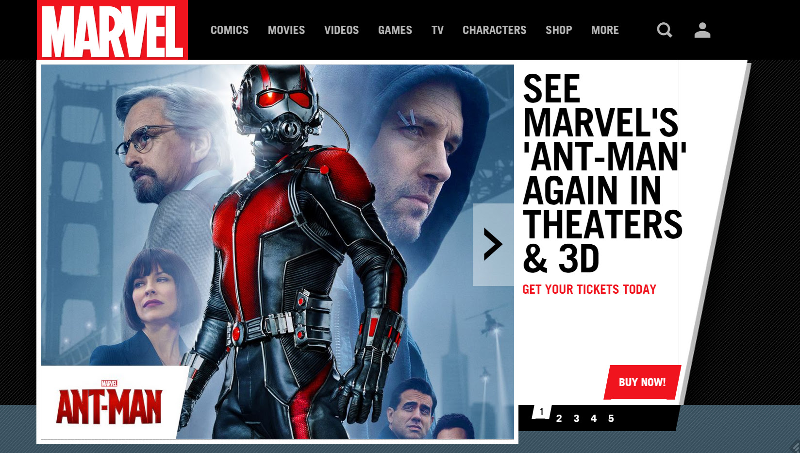 Marvel's Website