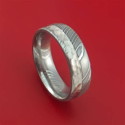 Damascus Steel and Hammered Platinum Ring Custom Made
