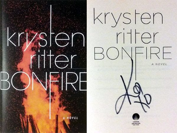 My autographed copy of Krysten Ritter's novel BONFIRE.