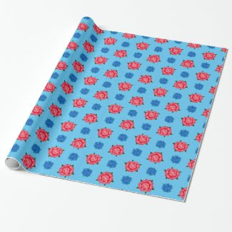 Pink and Blue Roses Pattern on Wrapping Paper