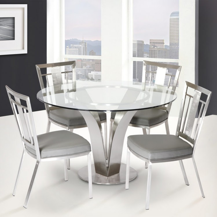 Cleo Contemporary Dining Table In Stainless Steel With ...
