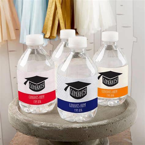 Personalized Water Bottle Labels   Congrats Graduation Cap