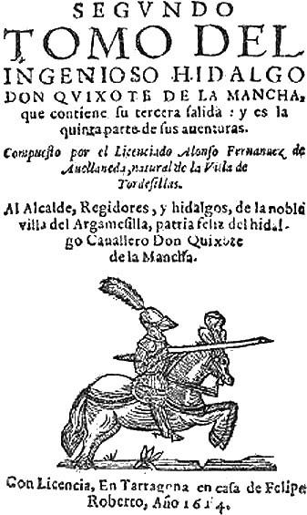 Portada del Quijote de Avellaneda, 1614