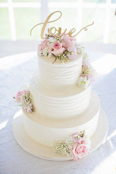 White, pink and gold wedding cake idea   Deer Pearl Flowers