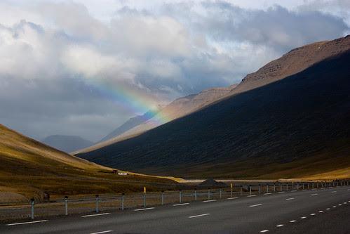 rainbow seen on the highway