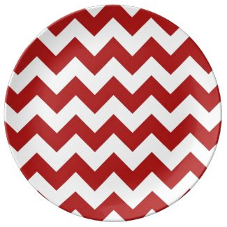 Red and White Zigzag Porcelain Plates