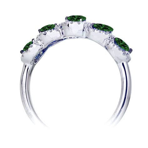1.5 Carat round cut Classic five stone Emerald and white