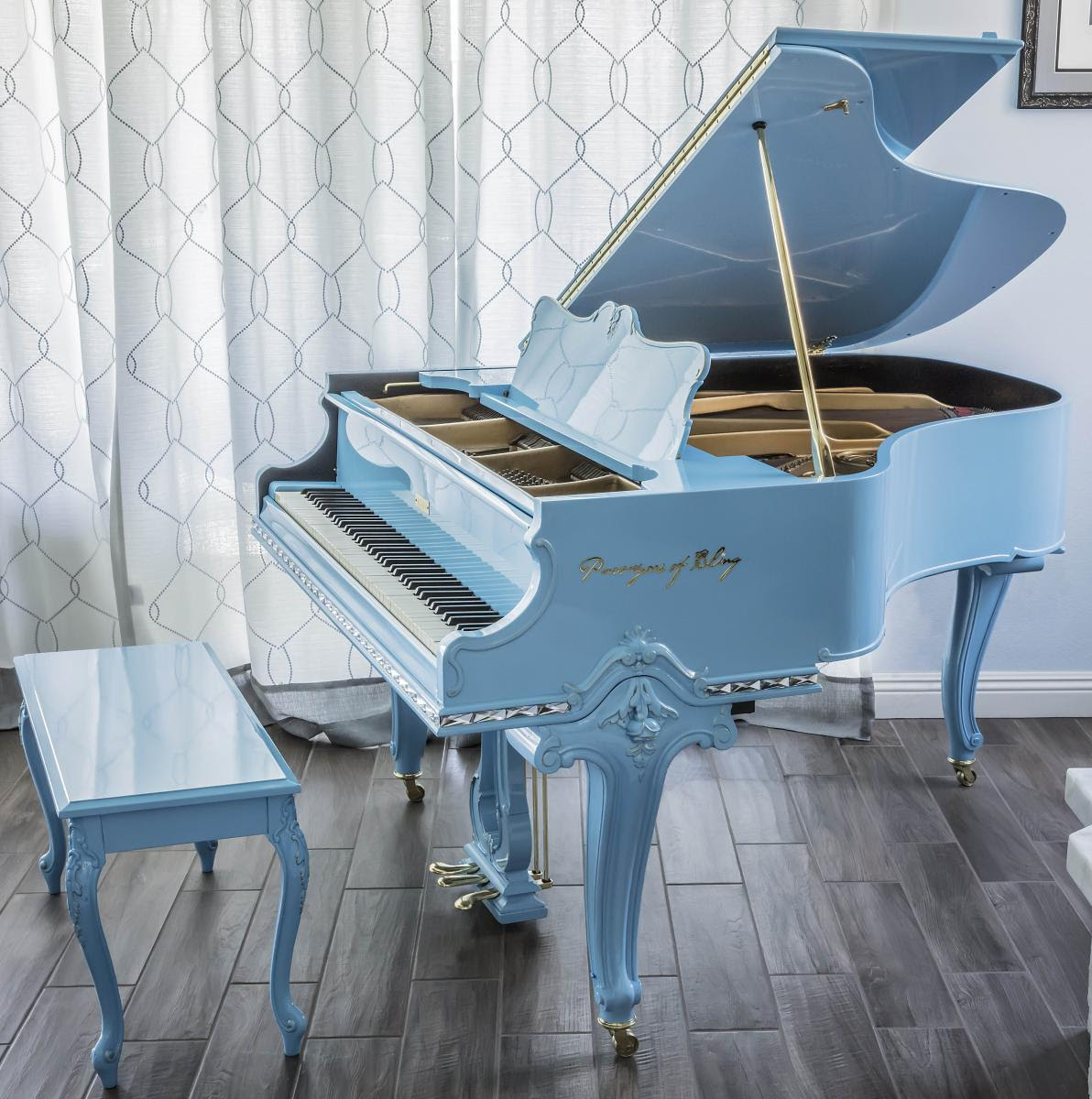 Commissioned Works Of Art Purveyors Of Bling Baby Grand Piano Is