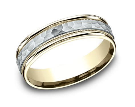 Men's Comfort Fit Hammered Center Two Tone Wedding Band in
