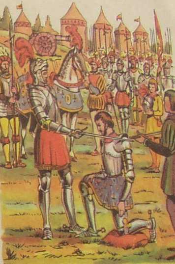 Bayard fait François Ier chevalier - Gravure extraite d'un manuel scolaire de 1960