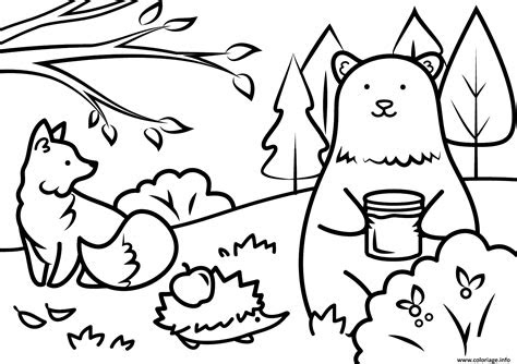 coloriage automne animals fall dessin