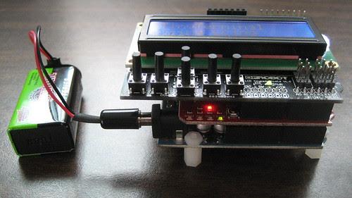 Arduino Uno, XBee Shield, LCD Shield