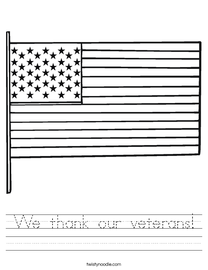 We thank our veterans Worksheet - Twisty Noodle