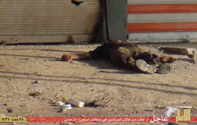 Death: Their bodies, some charred, were strewn across roads while others had been thrown in the Euphrates River