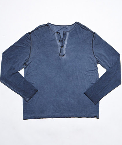 Long Sleeve Signature Henley - Oil Stain Navy