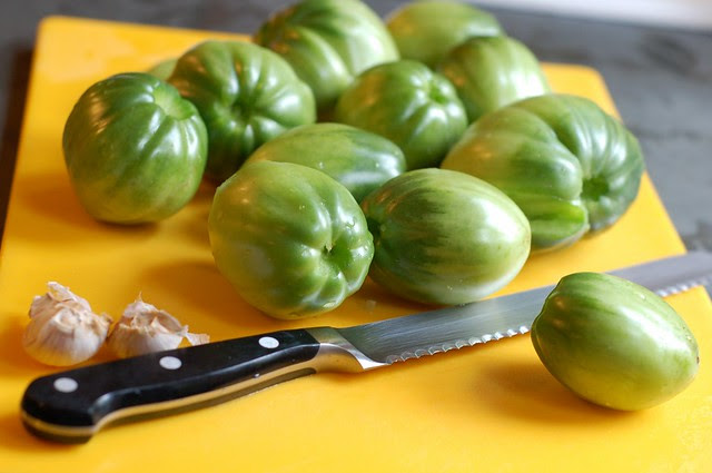 Green tomatoes by Eve Fox, Garden of Eating blog, copyright 2012