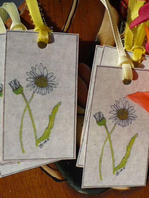 Daisy Tag SeT Hand Drawn Color Print, Set of Six