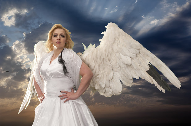 "Katy Cavanagh in her guise as ""Angel of the North"" for Street of Dreams."