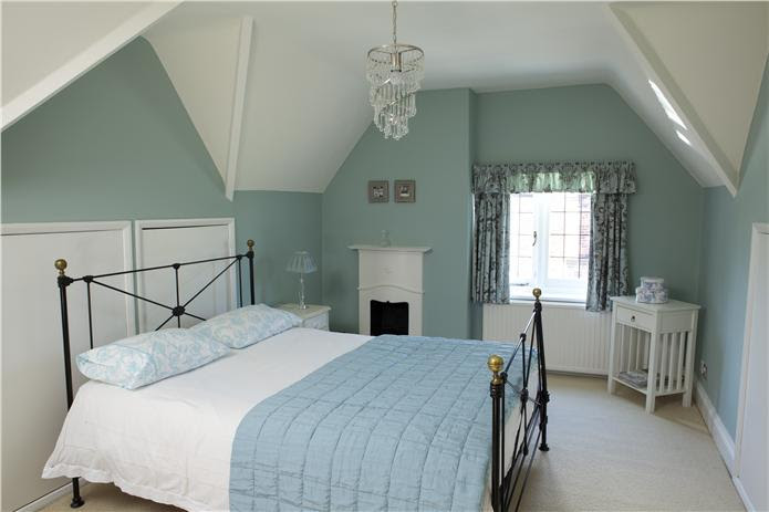 Farrow and Ball Green Blue bedroom