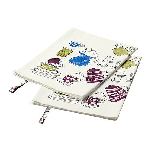 GLÄNTA Torchon, à motifs, blanc Longueur: 70 cm Largeur: 50 cm Quantité/paquet: 2 pièces