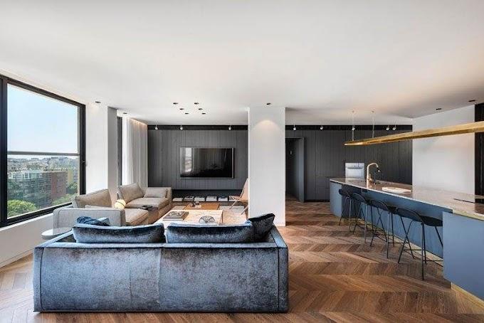 Ένα γοητευτικό διαμέρισμα με μέταλλο και μαύρο χρώμα