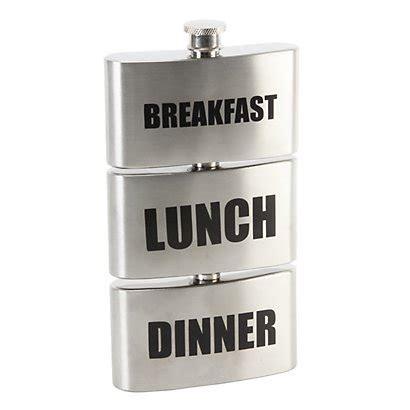 Breakfast, Lunch, Dinner Hip Flask   Wedding Gifts