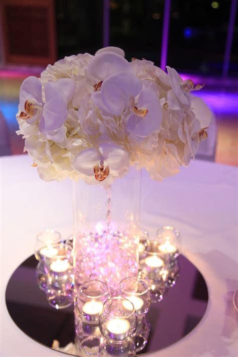 wedding centrepiece  hydrangea  orchids wedding