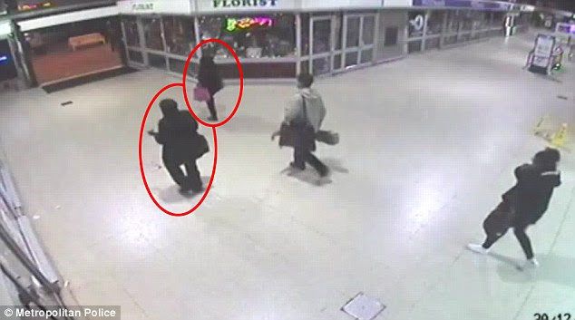 CCTV footage which shows a woman in a niqab following Naomi Oni through Stratford station
