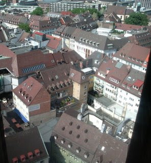 A rooftop view of Freiburg