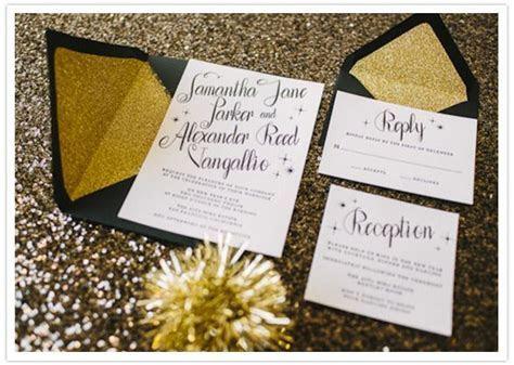 Black and white wedding invite  gold envelopes
