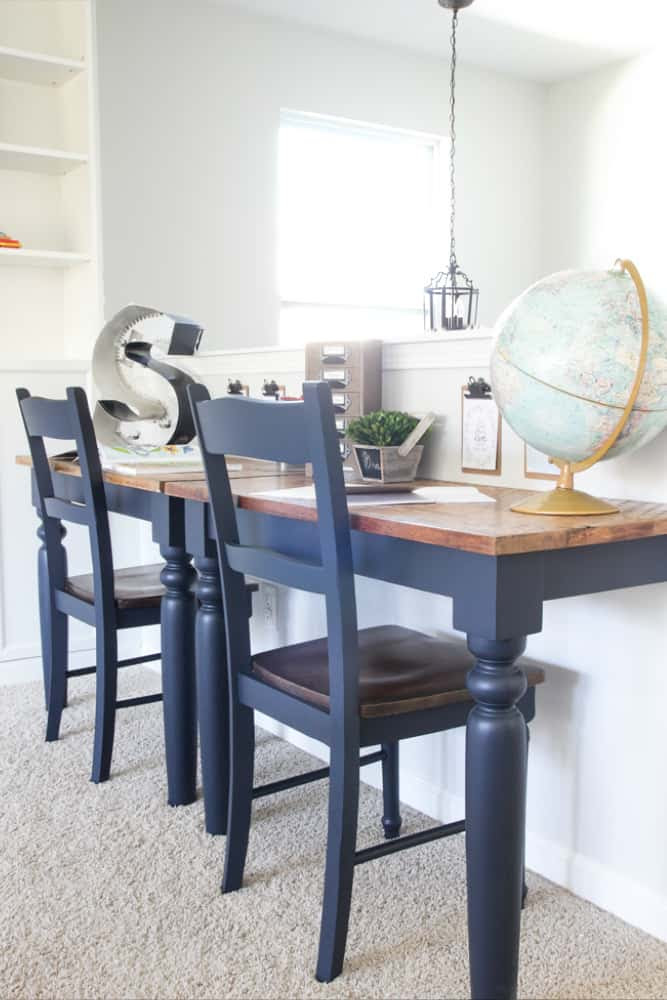 Repurposed Kitchen Table Into Wall-Mounted Desks