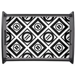 Black Equal Sign Geometric Pattern on White Service Trays