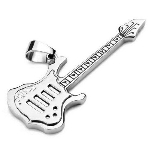 YOU'RE MY ROCKSTAR!! JBlue Jewelry men,women's Stainless Steel Pendant Necklace Silver Punk Guitar-with 23 inch Chain (with Gift Bag): Jewelry