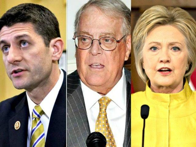 Ryan, Koch, Hillary AP Photos