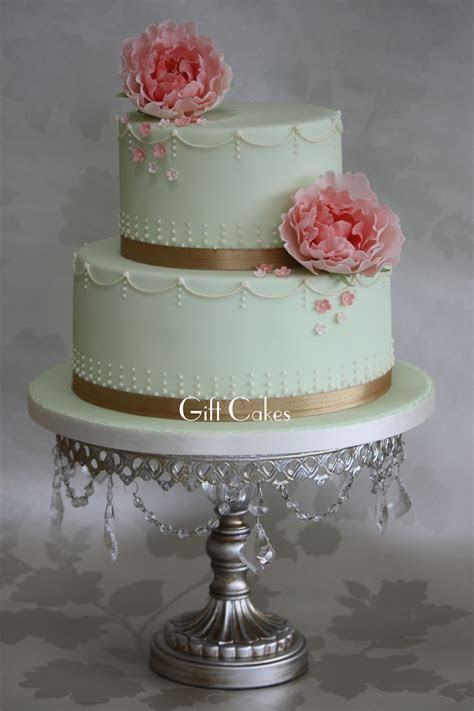 mint and blush Wedding Cakes   tier mint green and blush