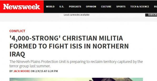 Newsweek sostenía en febrero de 2015 que los cristianos iraquíes disponían de una gran armada citando como fuente a otro diario, la noticia resultó ser mentira pero nadie rectificó jamás