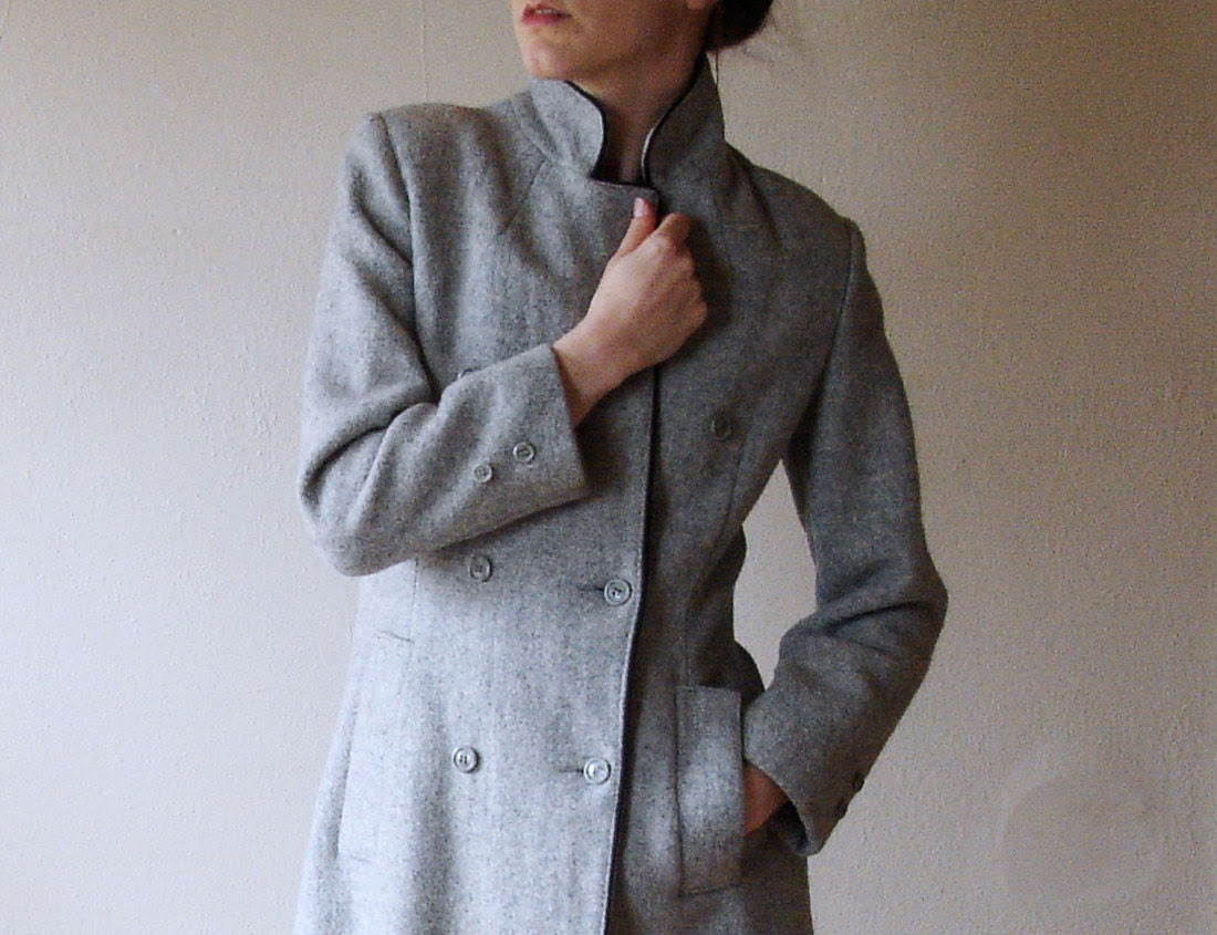Gray Wool Coat Double Breasted Vintage Small - ParkroseVintage
