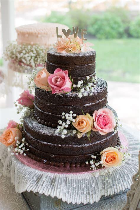 Naked Chocolate Ganache Homemade Wedding Cake   wedding