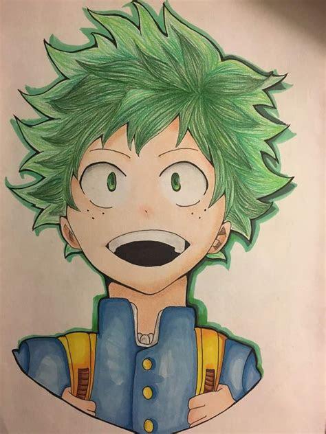 hero academia deku drawing process anime amino