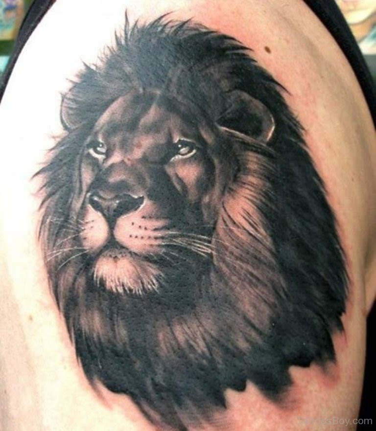 Black Lion Head Tattoo On Shoulder Tattoo Designs Tattoo Pictures