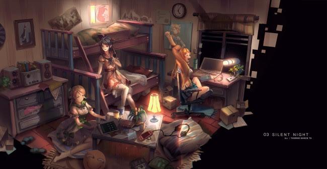 Wallpaper Anime Girls, Friends, Messy Room, Silent Night ...