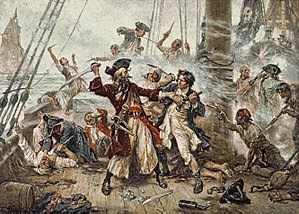 Capture of the Pirate, Blackbeard, 1718 depict...