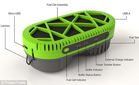 Water great invention: The PowerTrekk needs just a tablespoon of water to provide 10 hours of charge or a mobile phone