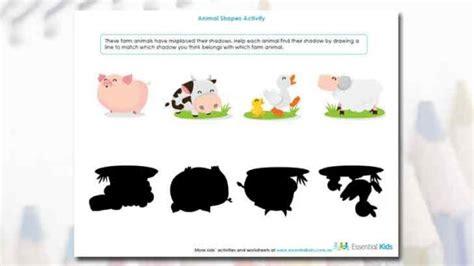 printable worksheets  preschool animal shape activity