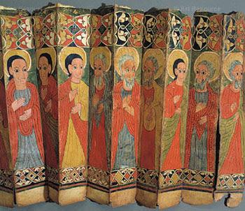 A ceremonial fan showing saints of Ethiopia