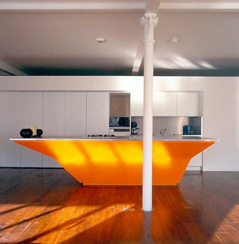 Modernas y sofisticadas cocinas en color naranja-01