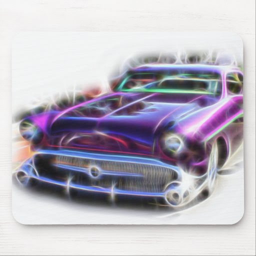 Merc Mercury Hotrod Mouse Pad Purple Flames Rodder