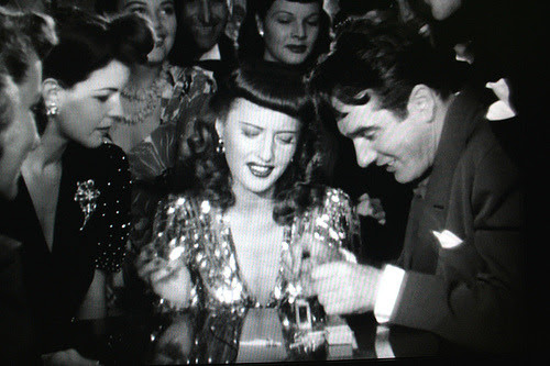 Barbara Stanwyck and Gene Krupa during the Drum Boogie scene in Ball of Fire