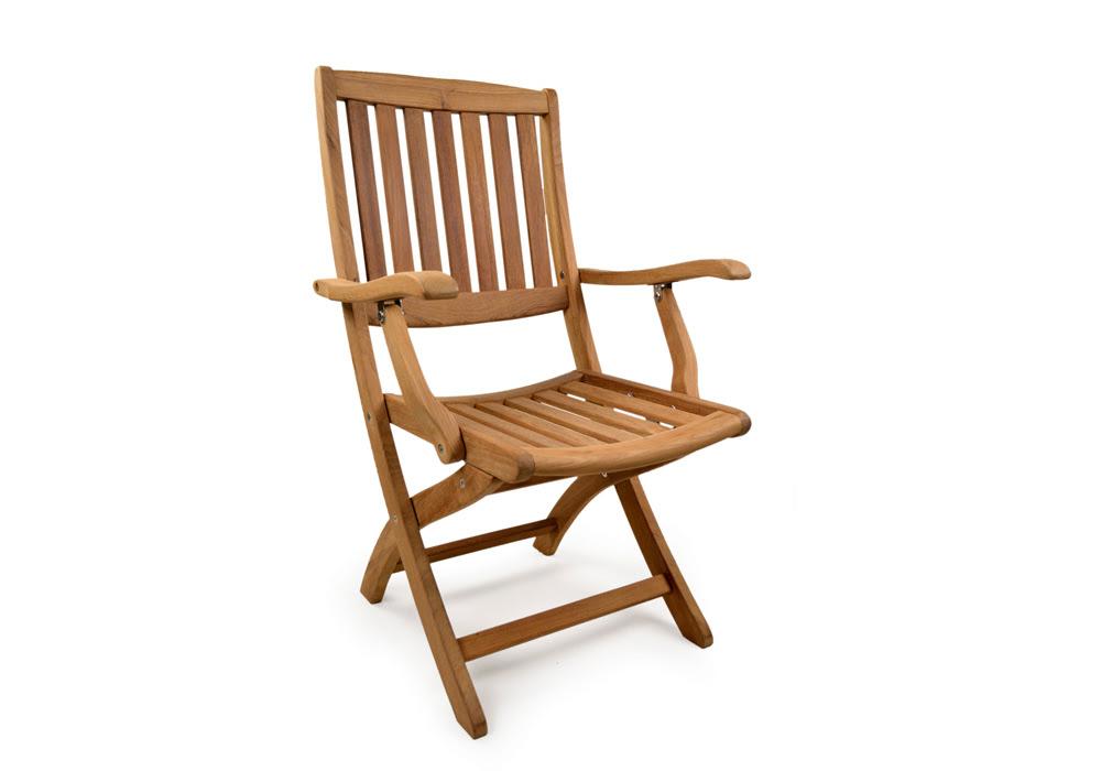 York Folding Teak Arm Chair - Grade A Teak Furniture