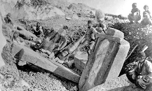 Workers from the 19th- century Turkish excavation team studying the West Terrace dexiosis reliefs; photograph from Hamdy Bey and Effendi 1883.